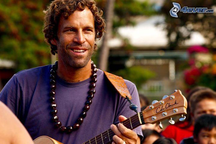Jack Johnson, leende, gitarr