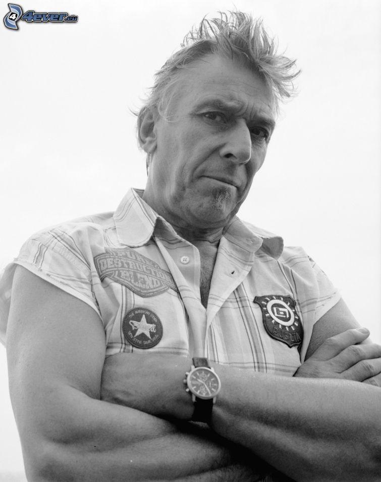 John Cale, sångare, svartvitt foto