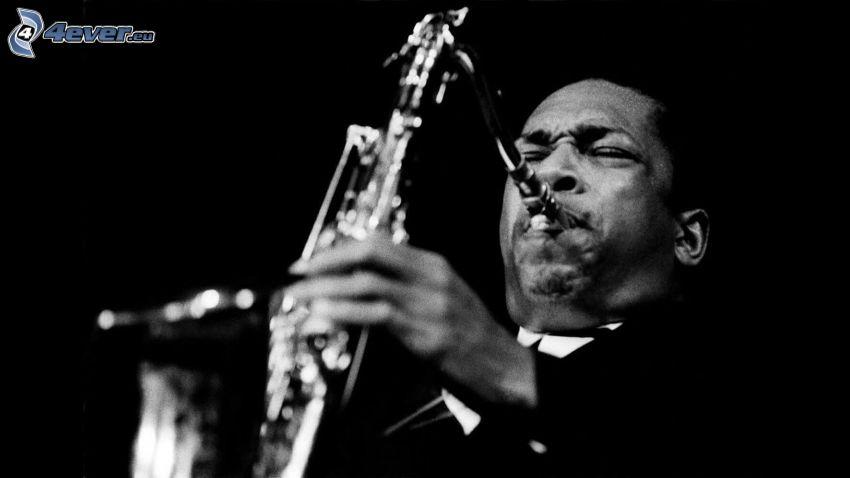 John Coltrane, saxofonist, svartvitt foto