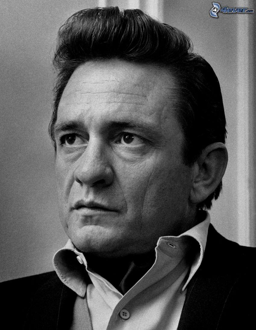 Johnny Cash, svartvitt foto