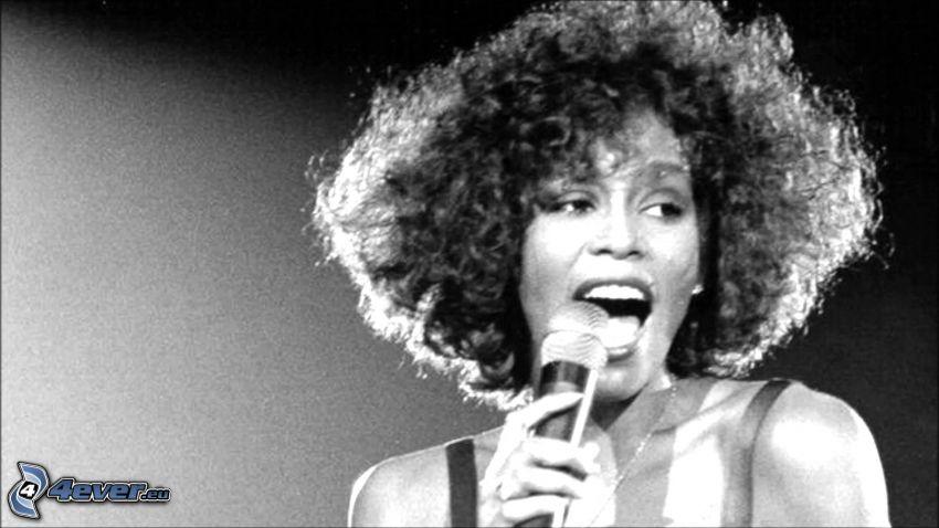 Whitney Houston, svartvitt foto, sång