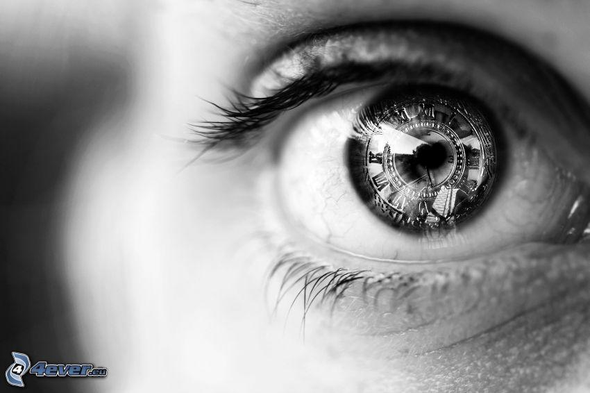 öga, svartvitt foto, klocka