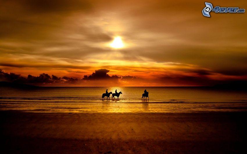 orange solnedgång över havet, silhuetter av människor, silhuetter av hästar