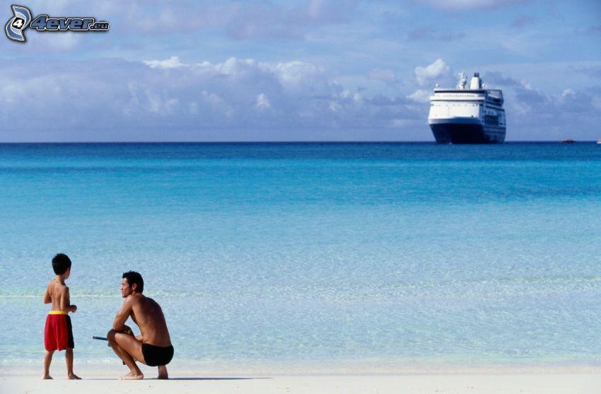 pappa, pojke, kryssningsbåt, azurblå hav, sandstrand