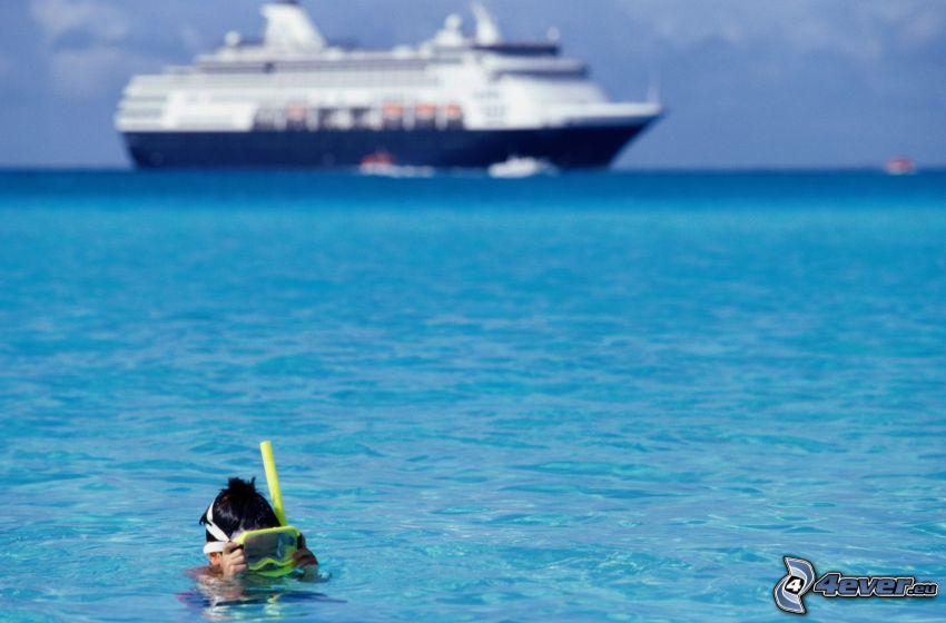 pojke, hav, kryssningsbåt