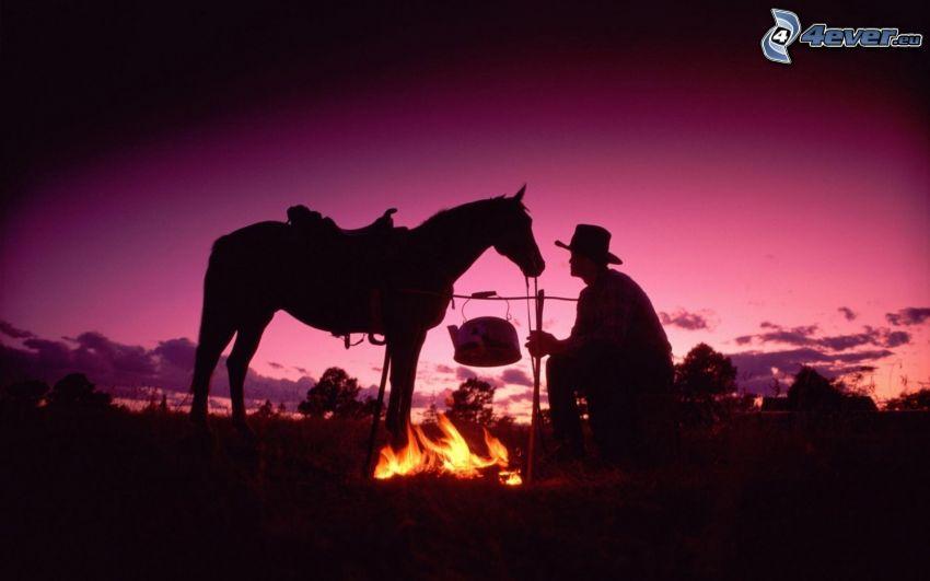 siluetter, cowboy, häst, eld, lila himmel