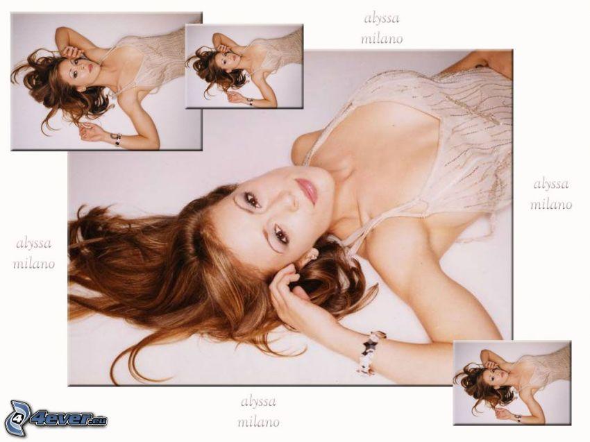 Alyssa Milano, Phoebe, häxor, Charmed, brunhårig kvinna, beige klänning