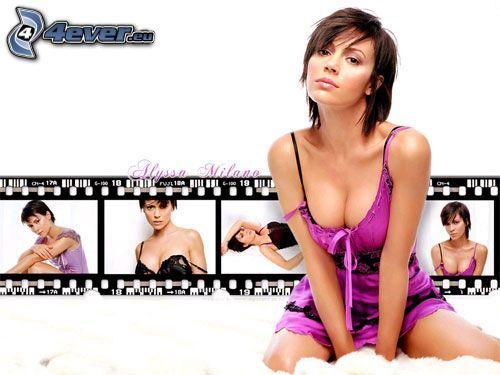 Alyssa Milano, Phoebe, häxor, Charmed, brunhårig kvinna, film, lila klänning