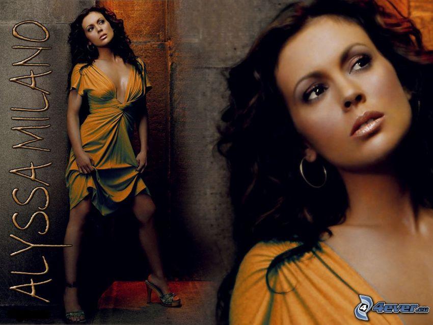 Alyssa Milano, Phoebe, häxor, Charmed, brunhårig kvinna, gul klänning