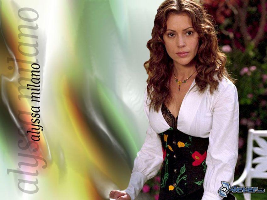 Alyssa Milano, Phoebe, häxor, Charmed, brunhårig kvinna, kläder