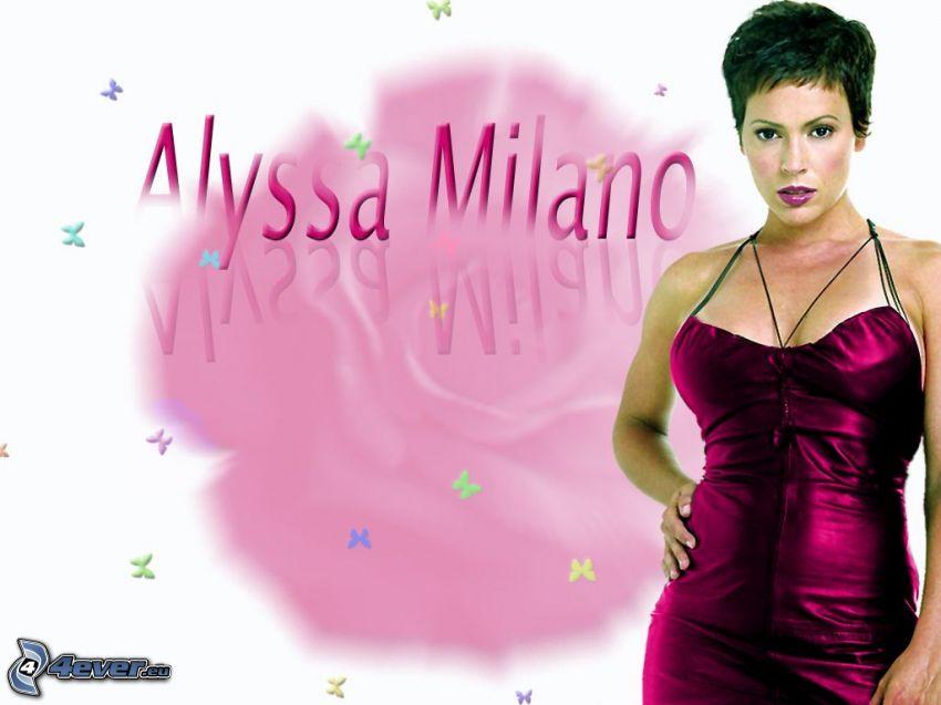Alyssa Milano, Phoebe, häxor, Charmed, brunhårig kvinna, lila klänning