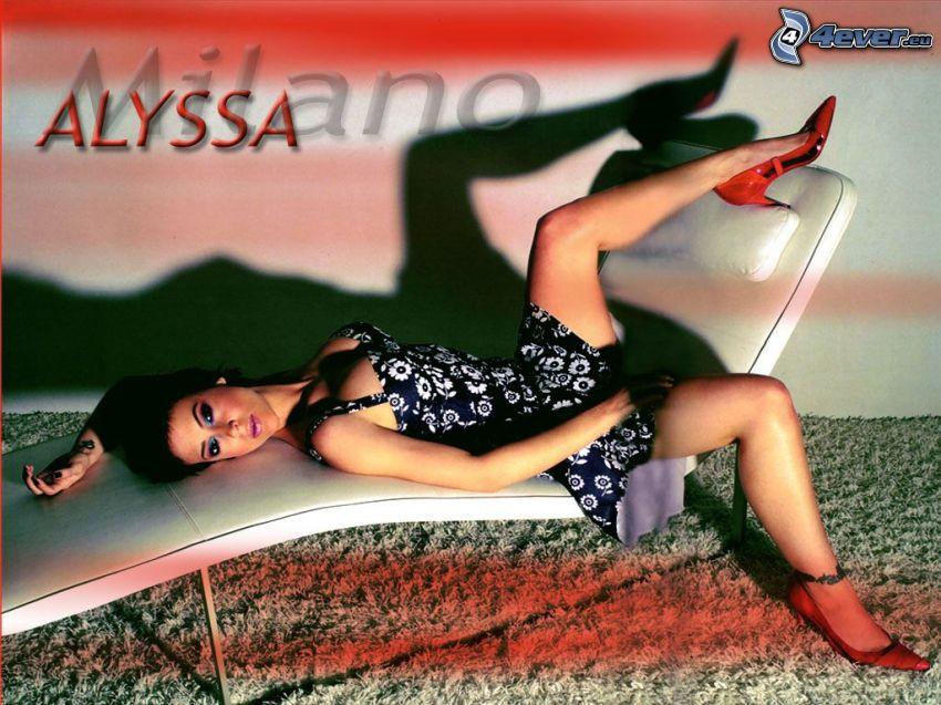 Alyssa Milano, Phoebe, häxor, Charmed, kläder, solstol