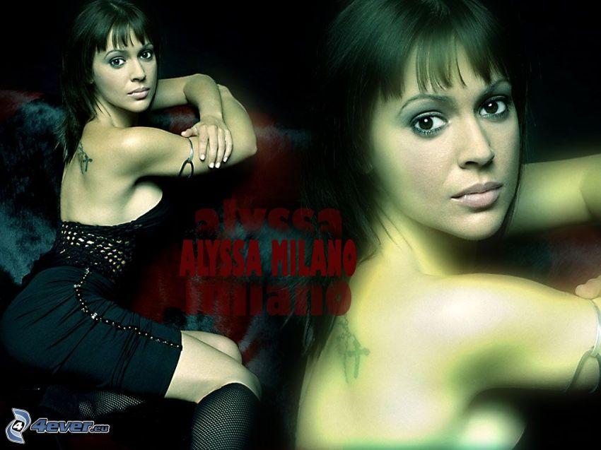 Alyssa Milano, skådespelerska, Phoebe, Charmed, brunhårig kvinna, svart klänning