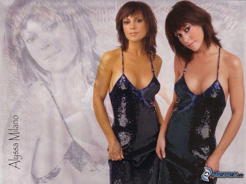 Alyssa Milano, skådespelerska, Phoebe, häxor, Charmed, brunhårig kvinna, blå klänning