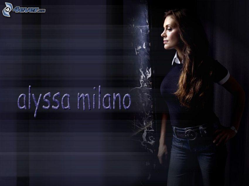 Alyssa Milano, skådespelerska, Phoebe, häxor, Charmed, brunhårig kvinna, jeans, T-shirt
