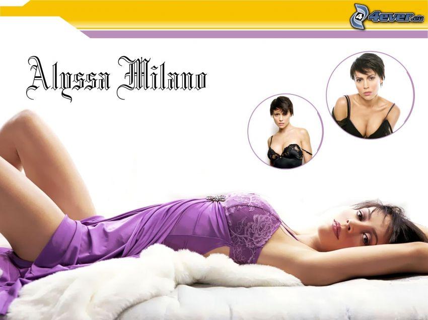 Alyssa Milano, skådespelerska, Phoebe, häxor, Charmed, brunhårig kvinna, lila klänning