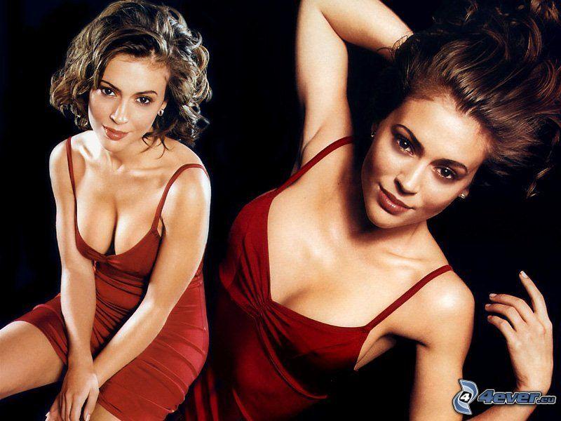 Alyssa Milano, skådespelerska, Phoebe, häxor, Charmed, brunhårig kvinna, röd klänning