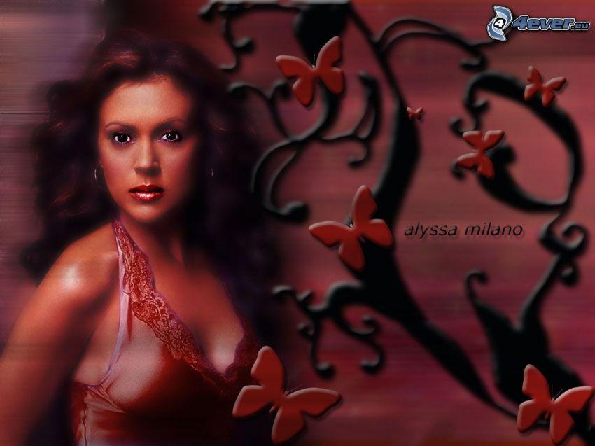 Alyssa Milano, skådespelerska, Phoebe, häxor, Charmed, brunhårig kvinna, röd tröja