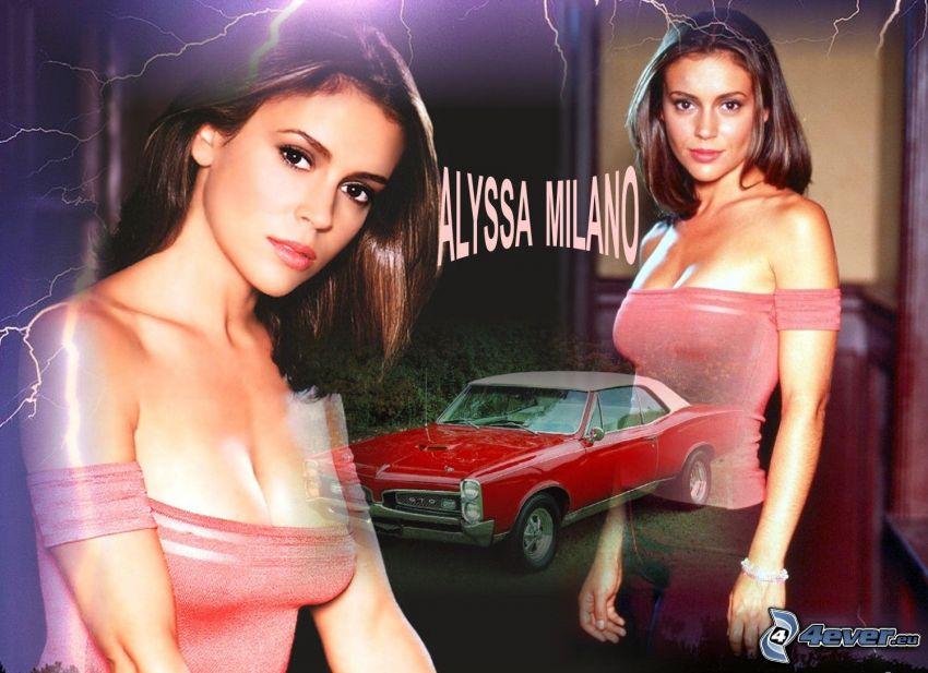 Alyssa Milano, skådespelerska, Phoebe, häxor, Charmed, brunhårig kvinna, rosa klänning, bil