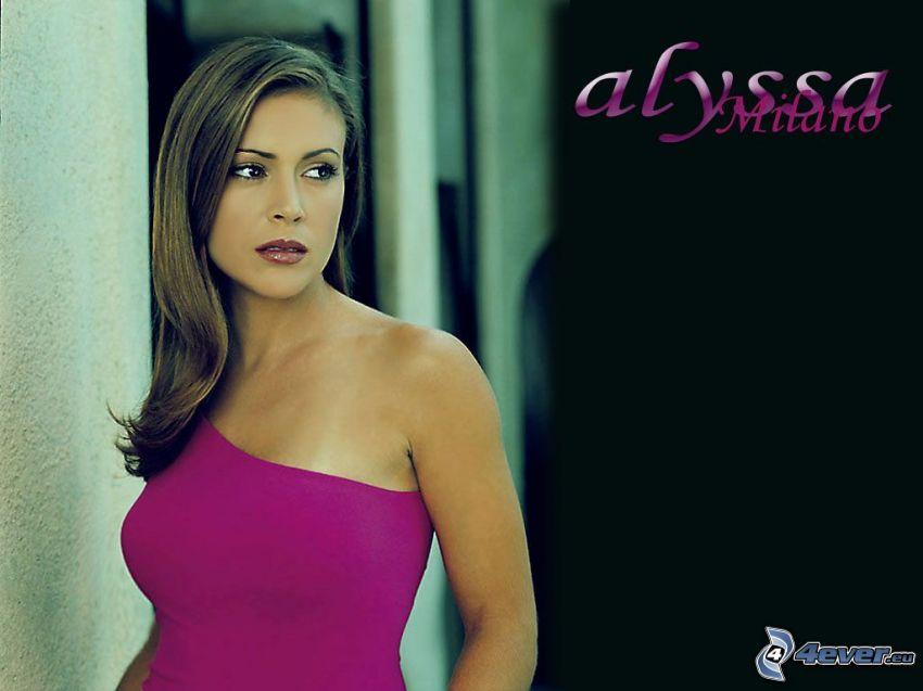 Alyssa Milano, skådespelerska, Phoebe, häxor, Charmed, brunhårig kvinna, rosa klänning