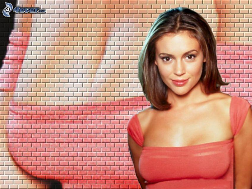 Alyssa Milano, skådespelerska, Phoebe, häxor, Charmed, brunhårig kvinna, rosa tröja