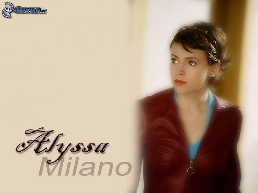 Alyssa Milano, skådespelerska, Phoebe, häxor, Charmed, brunhårig kvinna, skinnjacka, blå tröja