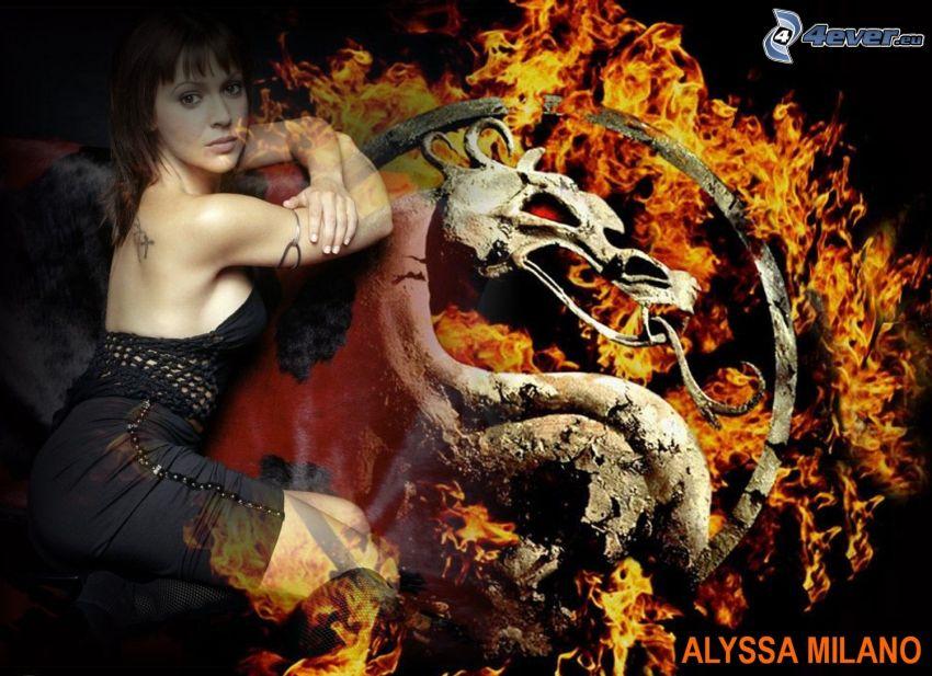 Alyssa Milano, skådespelerska, Phoebe, häxor, Charmed, brunhårig kvinna, svart klänning, drake, eld