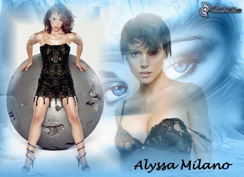 Alyssa Milano, skådespelerska, Phoebe, häxor, Charmed, brunhårig kvinna, svart klänning, skor