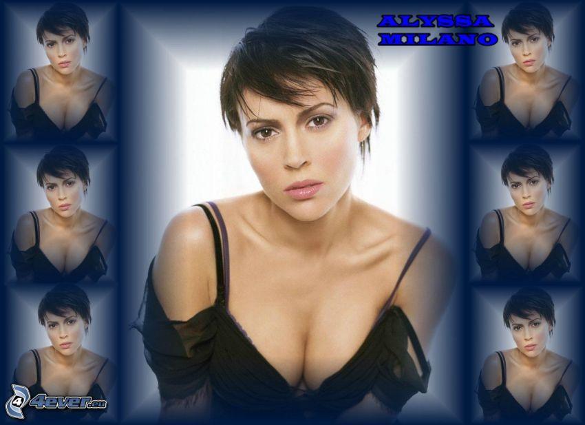 Alyssa Milano, skådespelerska, Phoebe, häxor, Charmed, brunhårig kvinna, svart klänning
