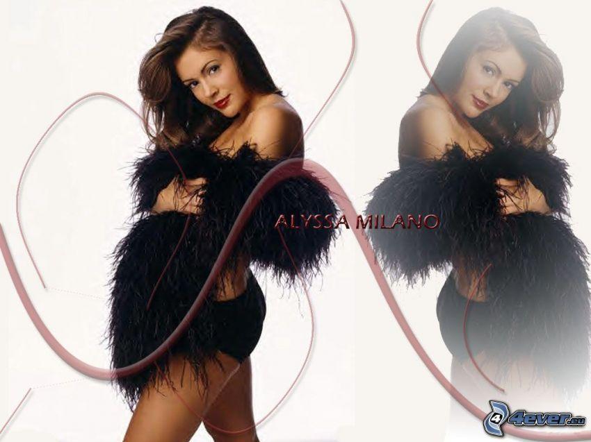 Alyssa Milano, skådespelerska, Phoebe, häxor, Charmed, brunhårig kvinna, svarta trosor, halsduk