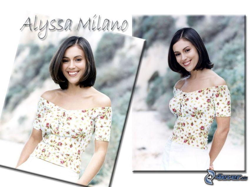 Alyssa Milano, skådespelerska, Phoebe, häxor, Charmed, brunhårig kvinna, T-shirt, vita byxor