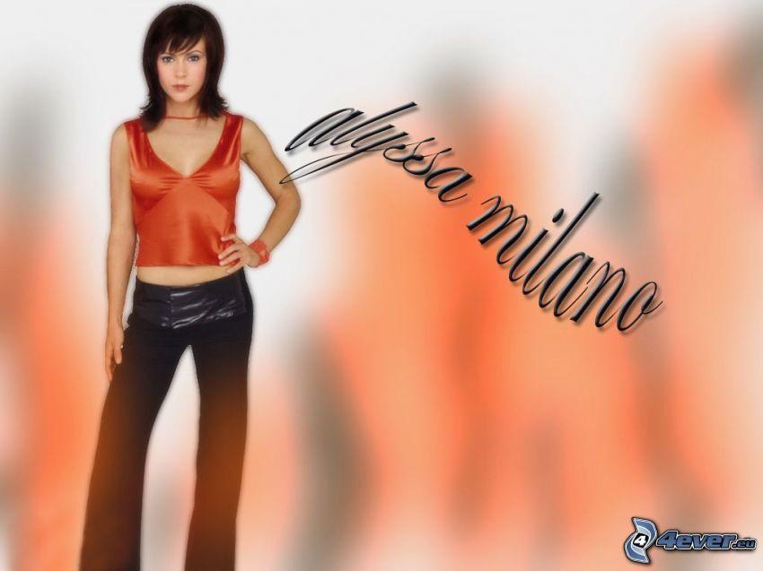 Alyssa Milano, skådespelerska, Phoebe, häxor, Charmed, brunhårig kvinna, T-shirt