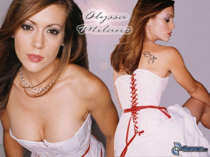 Alyssa Milano, skådespelerska, Phoebe, häxor, Charmed, brunhårig kvinna, vit klänning, korsett, halsband