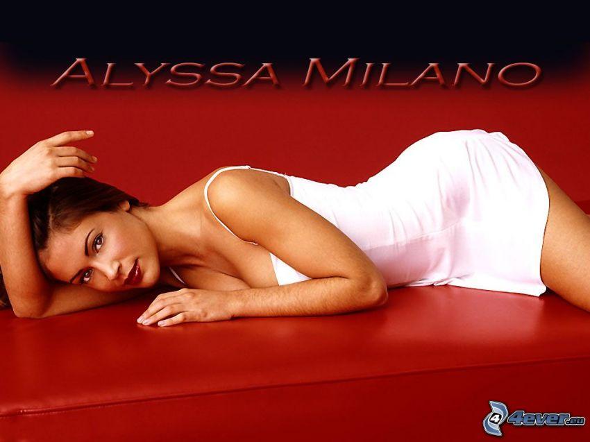 Alyssa Milano, skådespelerska, Phoebe, häxor, Charmed, brunhårig kvinna, vit klänning