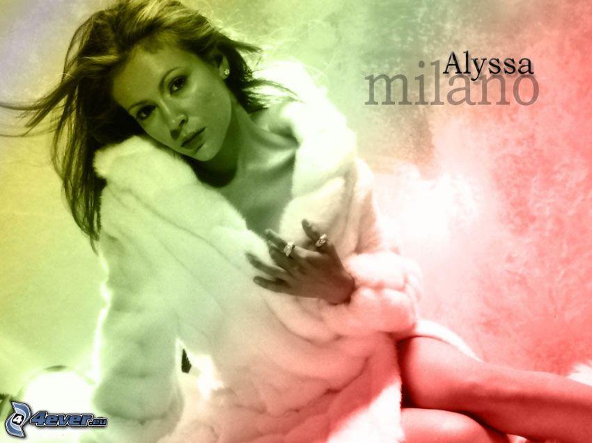 Alyssa Milano, skådespelerska, Phoebe, häxor, Charmed, brunhårig kvinna, vit päls