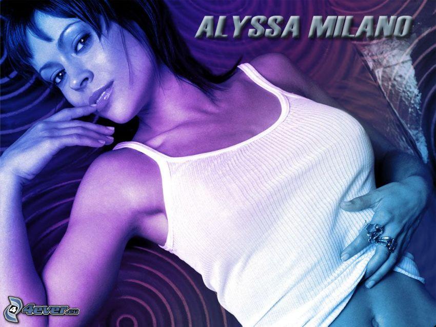 Alyssa Milano, skådespelerska, Phoebe, häxor, Charmed, brunhårig kvinna, vit tröja