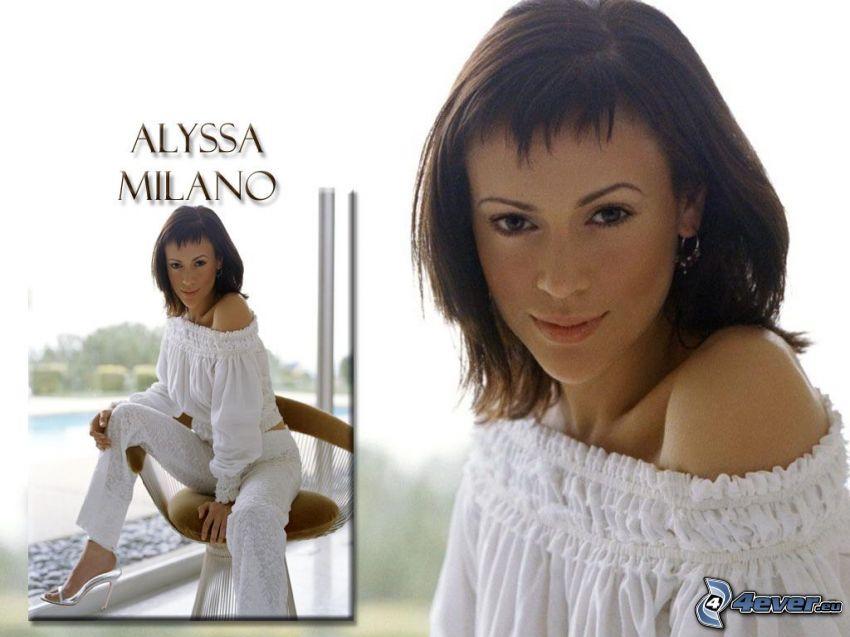 Alyssa Milano, skådespelerska, Phoebe, häxor, Charmed, brunhårig kvinna, vita byxor, T-shirt