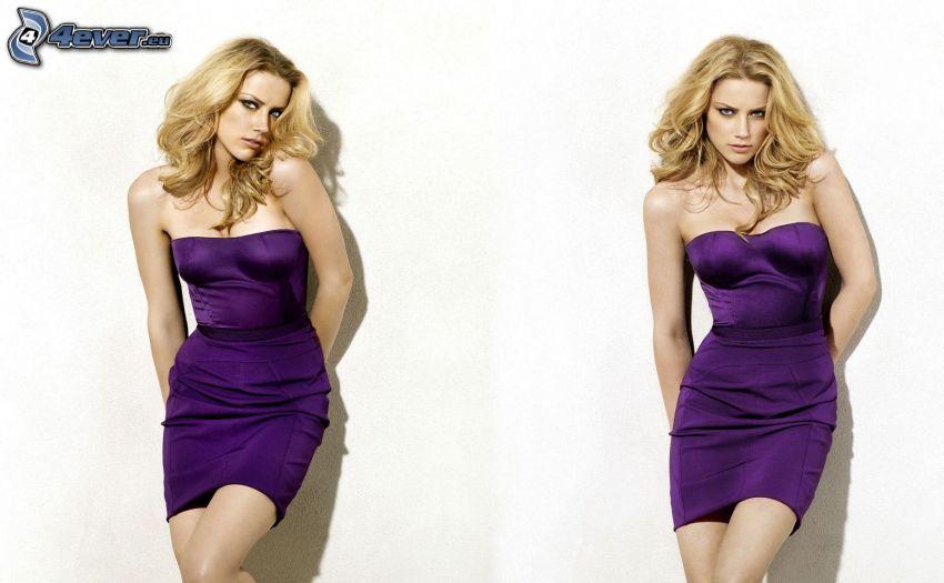 Amber Heard, lila klänning