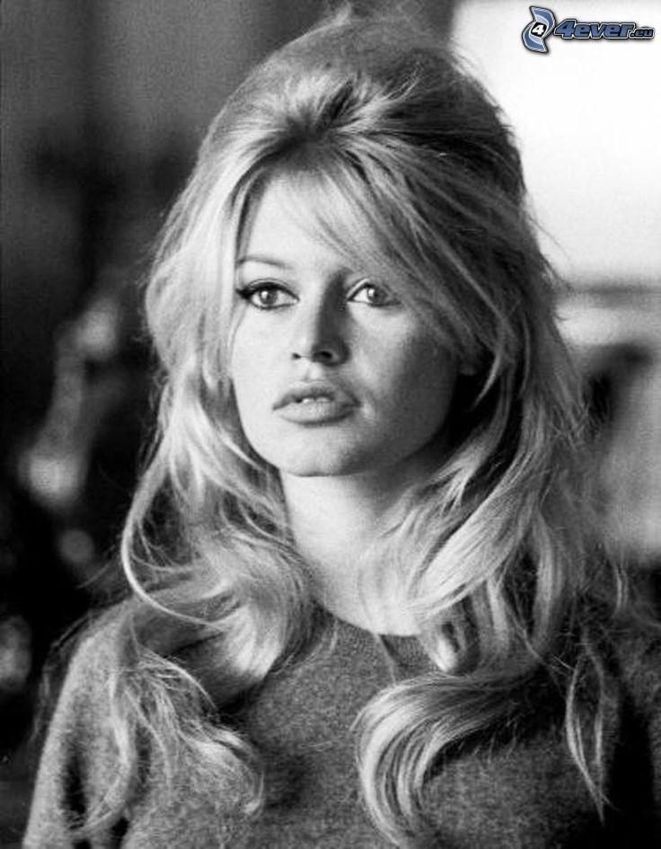 Brigitte Bardot, gammalt foto, svartvitt foto