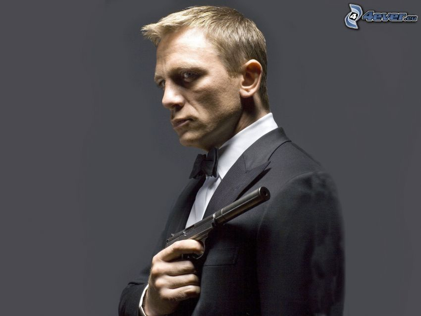 Daniel Craig, James Bond, man med vapen, man i kostym, fluga