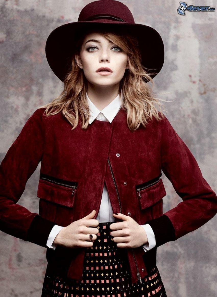 Emma Stone, flicka med hatt