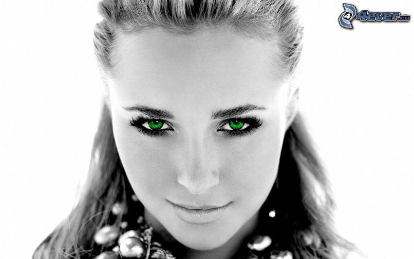 Hayden Panettiere, svartvitt foto, gröna ögon