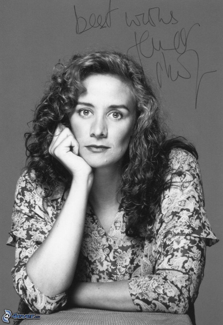 Janet McTeer, svartvitt foto, namnteckning