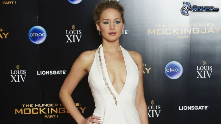 Jennifer Lawrence, vit klänning