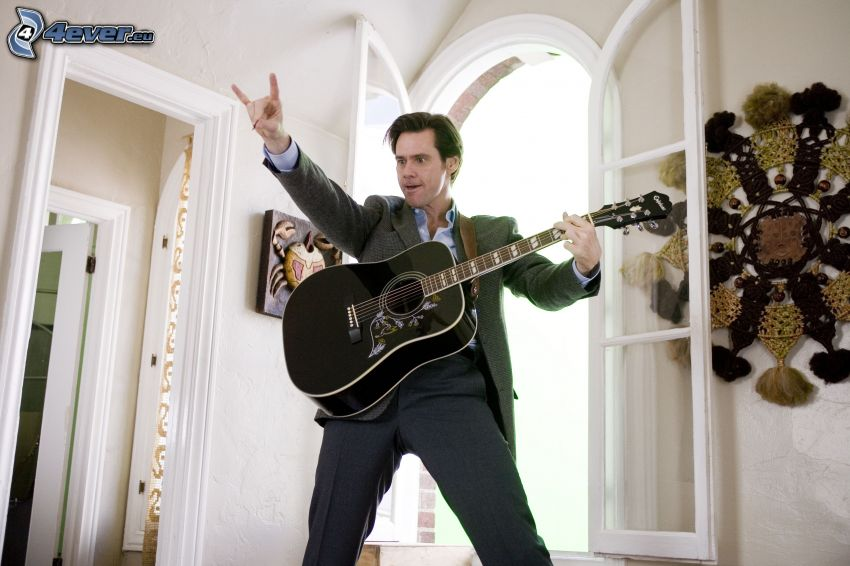 Jim Carrey, man med gitarr