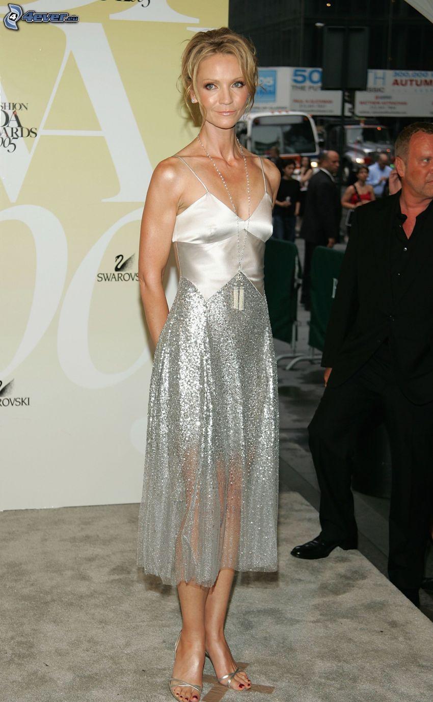 Joan Allen, grå klänning