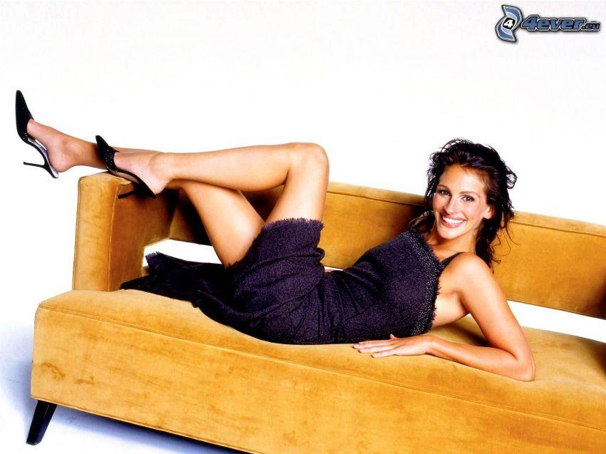 Julia Roberts, leende, soffa
