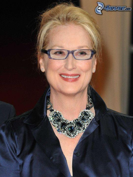 Meryl Streep, leende, kvinna med glasögon