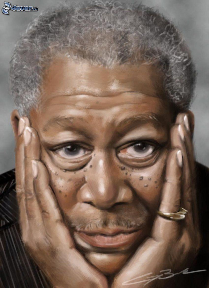 Morgan Freeman, krikatur, tecknat