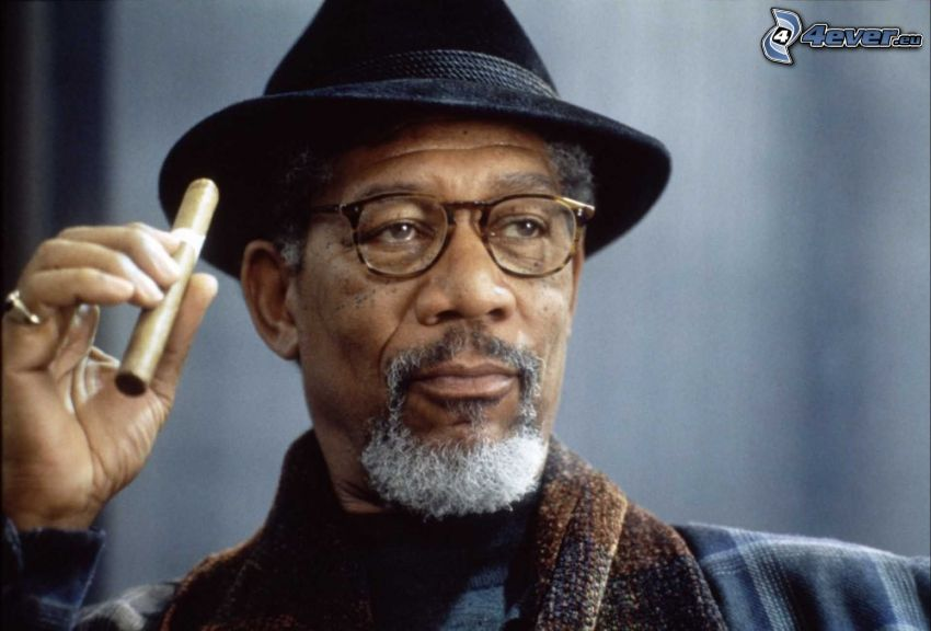 Morgan Freeman, man i hatt, man med glasögon, cigarr
